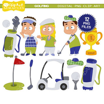 Golf clipart, Gold clip art images, Goldfing kids digital illustration / commercial use OK