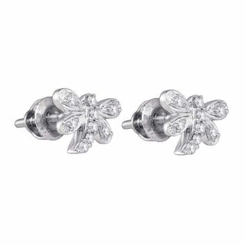 10kt White Gold Womens Round Diamond Butterfly Dragonfly Bug Stud Earrings 1-10 Cttw - FREE Shipping (US/CAN)