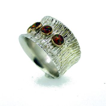 Red Opal Wide Silver Band
