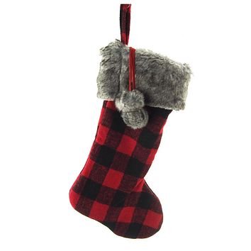 Felt Plaid Christmas Stocking with Fur Cuff, Red/Black, 20-Inch