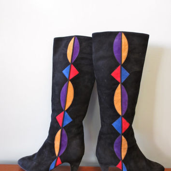 Chic Nina Black Suede Tall Geometric Pattern boots, Size 7