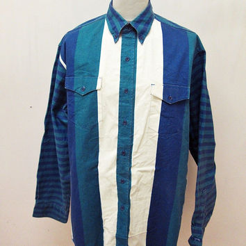 Vintage Wrangler Geometric Horizontal Vertical Striped Pattern Print Shirt  XL