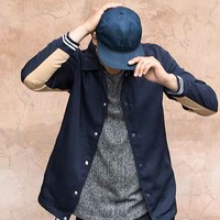 Louis Contrast Coaches Jacket - Navy