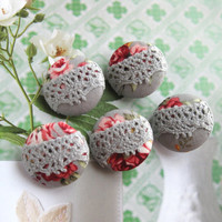 Handmade Fabric Buttons - Grey Gray Pink Red Roses Floral Flower Lace Handmade Fabric Buttons 1.1 Inch 5's