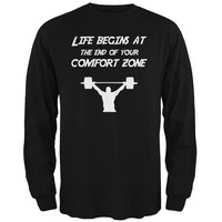 Comfort Zone Weight Lifting Black Adult Long Sleeve T-Shirt