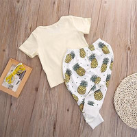 2016 New Arrival Summer Style 2pc Baby Sets Newborn Baby boy Letter print Shirts+Cute Pineapple Pants Clothes Infant Baby Sets