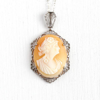 Vintage Cameo Necklace - Sterling Silver Art Deco Filigree Carved Genuine Shell - Lady Pendant Flower Floral Peach White 1930s Jewelry