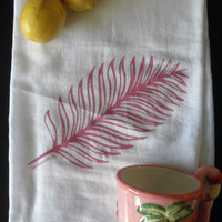 Jacksonville Florida Tropical Palm Leaf Kitchen Tea Towel in Pink