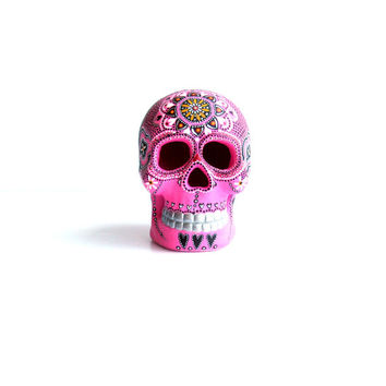 Painted Skull Small hand painted skull Sugar skull skull art Pink Skull Art