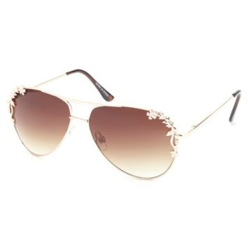 Flower-Trimmed Aviator Sunglasses