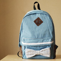 Blue Leisure Lace  Bowknot Backpack