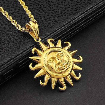 Sun Face Pendant Gold Stainless Steel Tribal Symbol Charm Necklace Chain