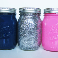 Glitter Mason Jar Set: Dark Blue and Light Pink