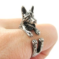 Realistic German Shepherd Shaped Animal Wrap Ring in Silver | Sizes 4 to 8.5
