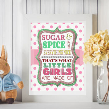 Sugar and Spice Art Print Wall art Nursery decor Baby Girl Nursery Wall art Baby Girl Nursery art Pink Nursery art Gift for Baby