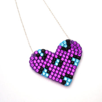 Sparkly Purple, Turquoise & Black Leopard Love-Heart Necklace - Violet Cyan Blue Rockabilly Psychobilly Cheetah Animal Print Jewellery