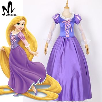 Cartoon Princess Dress Halloween costumes for women Adult Tangled Rapunzel cosplay costume Princess Rapunzel dress