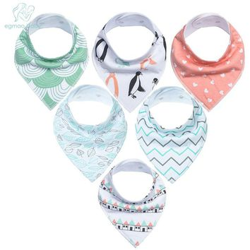 EGMAOBABY 6 pcs Baby Bandana  100% Orgonic Cotton Drool Bibs Super Adjustable For Girls and Boys Infant Toddler Scarf Baby Bibs