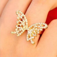 Glittering Butterfly Rhinestone Ring (Gold, Adjustable Band)
