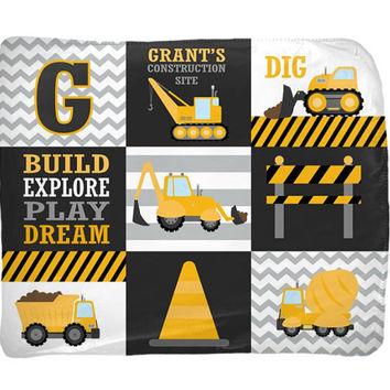 CONSTRUCTION Blanket Pillow Set - Construction Trucks Decor - Trucks Bedding - Personalized Boy Name Blanket Pillow Set-Baby Boy Shower Gift