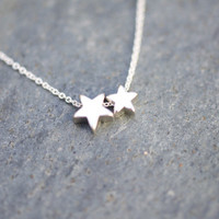 Stars Necklace - Sterling Silver chain with two silver star charms