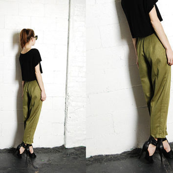 Vintage 90s High Waist Tapered Moss Olive Green Sheen Linen Trousers Slacks Dress Pants S-M 28