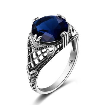 Womens Blue Sapphire Vintage Antique Style  .925 Sterling Silver Ring