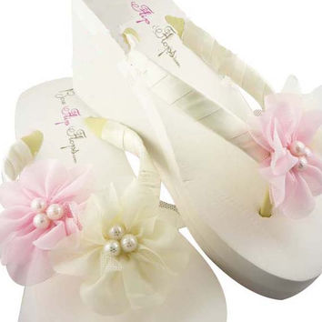 Wedding Flip Flops -Pink & Ivory Pearl Chiffon Flower - Bride Wedges Bridesmaid Sandals Shoes