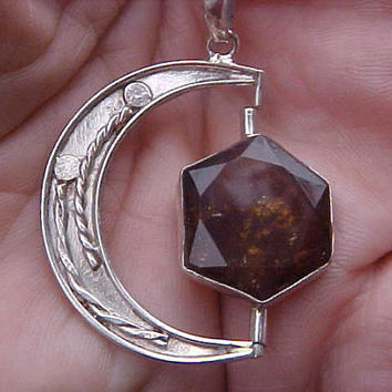 Crescent MOON with TOURMALINE faceted natural slice in a swivel Unique Custom KAM Design Pendant of Sterling Silver