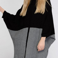 Chic Women's Color Patchwork Batwing Sleeves Sweater Dress