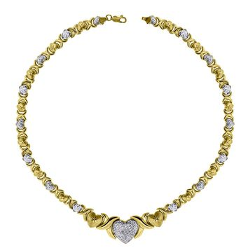 Large Hearts & Kisses Links Necklace in Solid 10k Yellow & White Gold 17 Inch
