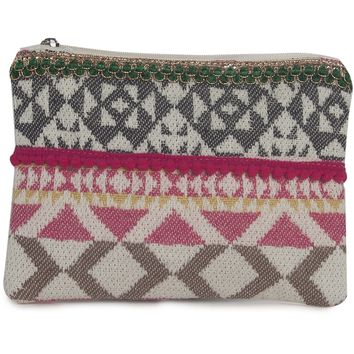 Pom Pom Handloom Fabric Zippered Pouch