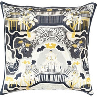 Charcoal Chinois Garden Silk Decorative Pillow