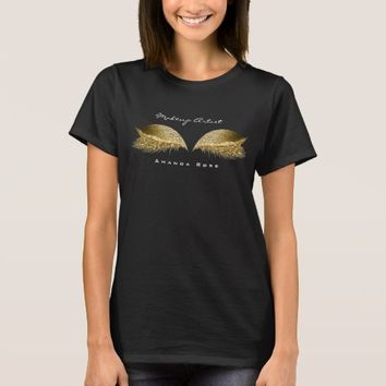 Makeup Artist Beauty Lashes Gold Honey Glitter T-Shirt