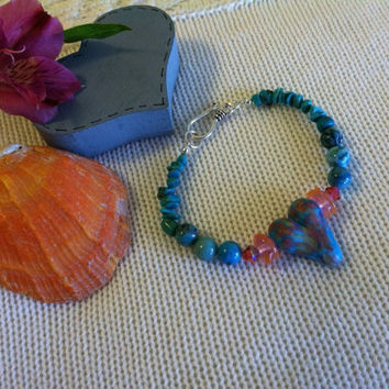 Peach and Aqua Heart Bracelet With Handmade Polymer Clay Heart Peach Glass Lamp Work Rondelles Turquoise Nuggets Aqua Crazy Lace Agate Beads