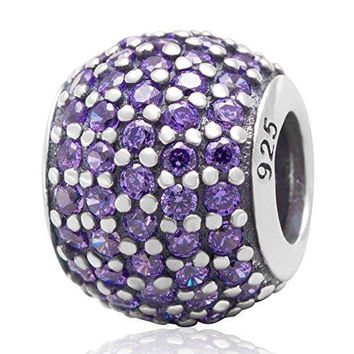 Choruslove Womans Authentic 925 Sterling Silver Pave Lights with CZ Bead for European Charm Bracelet