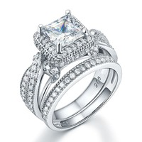 925 Sterling Silver Wedding Anniversary Engagement Ring Set Vintage Style Princess Simulated Diamond