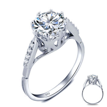 2 Carat Round Cut Created Diamond Solid 925 Sterling Silver Wedding Engagement Ring