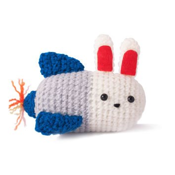 White-Blue-Red Bunnies Handmade Amigurumi Stuffed Toy Knit Crochet Doll VAC
