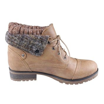 Refresh Wynne-01 Women's Combat Style Lace Up Ankle Bootie,Tan,9