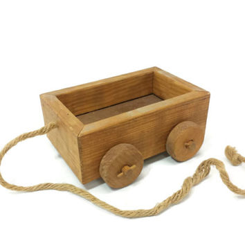 Vintage Childs Wood Wagon, Small Pull Cart, Country Farmhouse Decor, Wagon Planter,Primitive Flower Pot,Rope Pull Toy,Porch Patio Yard Decor