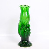 Vintage Green Hand Vase Cased Glass Mold Blown Emerald Art Glass Fluted Torch Vase