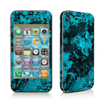iPhone Decal Sticker, iPhone Cover, iPhone 4, iPhone 4S, PLUS Matching Wallpaper - Marble Cyan - Trendy Abstract Blue Turquoise Women Teen
