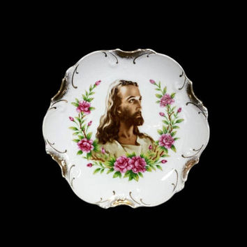 Vintage Jesus Decorative Plate Wall Hanging Painted Pink Flowers Gold Trim Spiritual Religious Kitsch Art Home Decor Collectible Japan