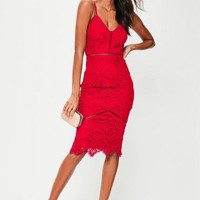 Missguided - Red Lace Ladder Detail Midi Dress