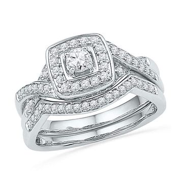 10kt White Gold Women's Round Diamond Twist Bridal Wedding Engagement Ring Band Set 1/2 Cttw - FREE Shipping (US/CAN)