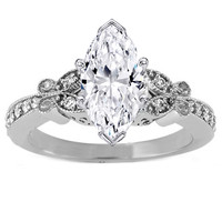 Engagement Ring - Marquise Diamond Butterfly Vintage Engagement Ring  0.16 tcw. In 14K White Gold - ES334MQWG