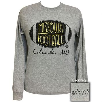 Girlie Girl Preppy Missouri Football Long Sleeve T-Shirt