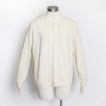Vintage 1960s Sweater - Beaded Wool Angora Knit Cardigan Cream Off White Embellished 60s -  Large