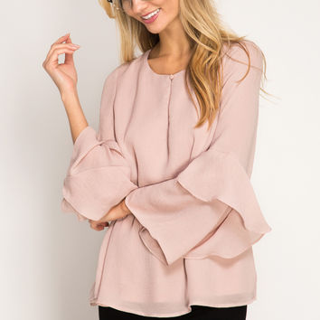 Champagne Long Sleeve Blouse with Layered Sleeve Ruffles